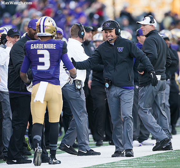 Chris Petersen celebrates another defensive score.