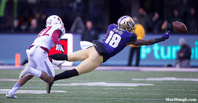Jake Browning's pass was just beyond the reach of Isaiah Renfro.
