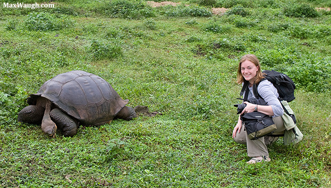 Jenn with giant tortoise