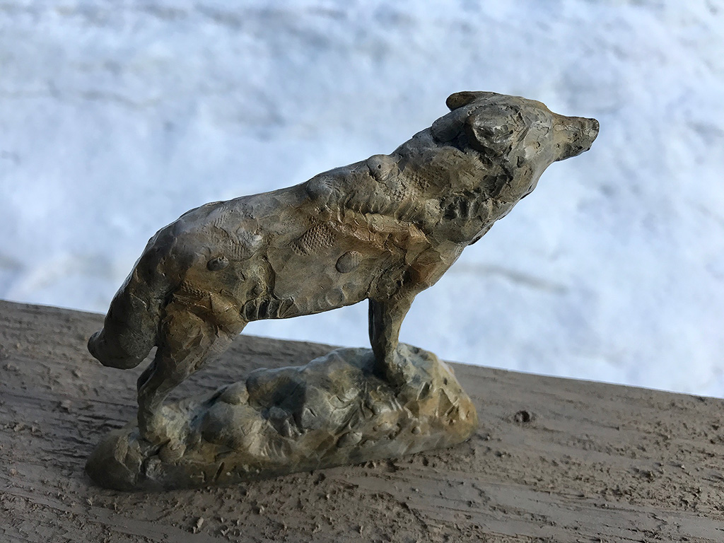 Wolf sculpture by George Bumann