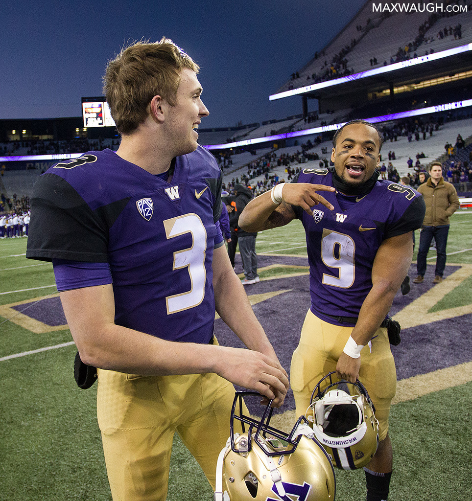 Myles Gaskin and Jake Browning