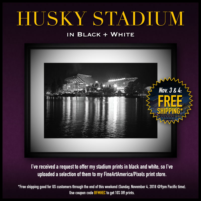 Black and White Husky Stadium Prints