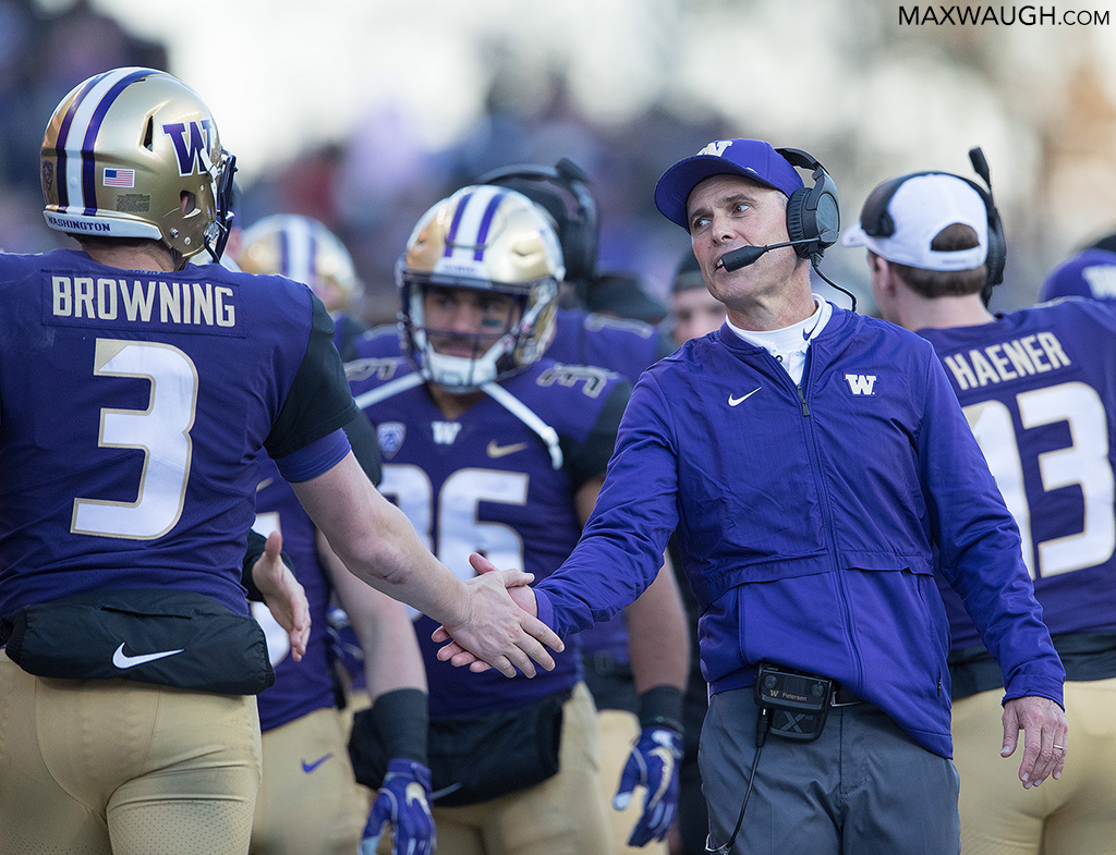 Chris Petersen and Jake Browning