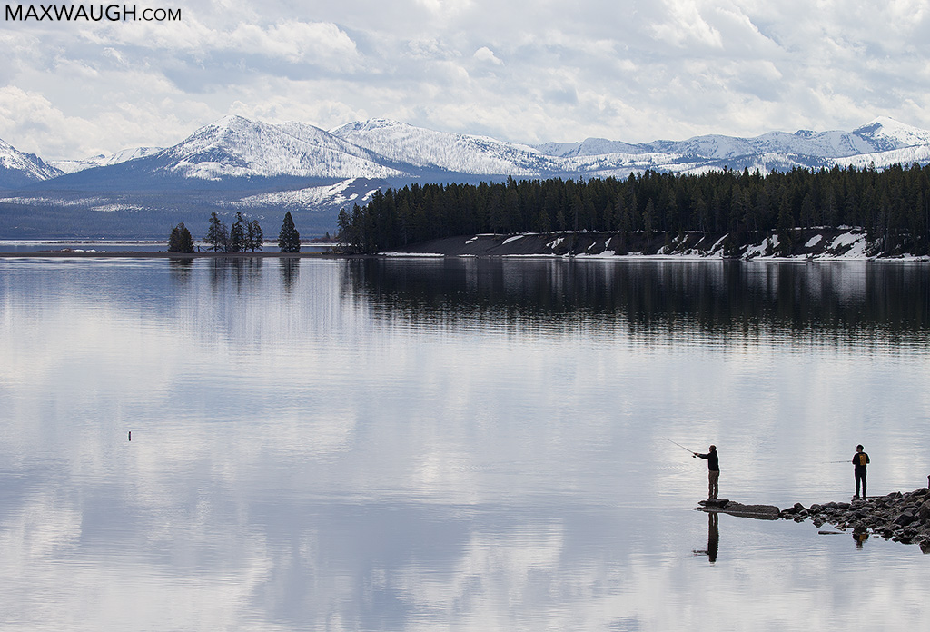 Fishermen at Yellowstone Lake