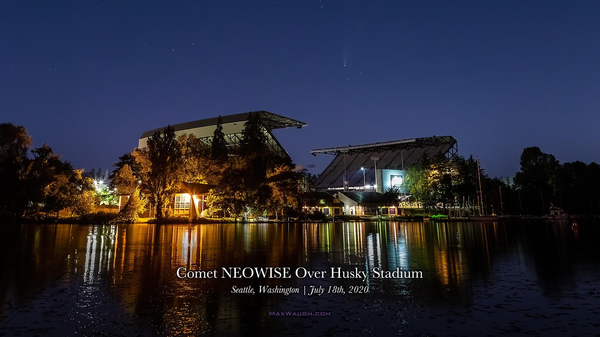 Comet NEOWISE over Husky Stadium desktop wallpaper by Max Waugh